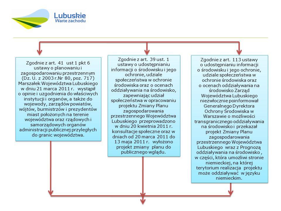 Zgodnie z art. 41 ust 1 pkt 6 ustawy o planowaniu i zagospodarowaniu przestrzennym (Dz. U. z 2003 r.Nr 80, poz. 717) Marszałek Województwa Lubuskiego