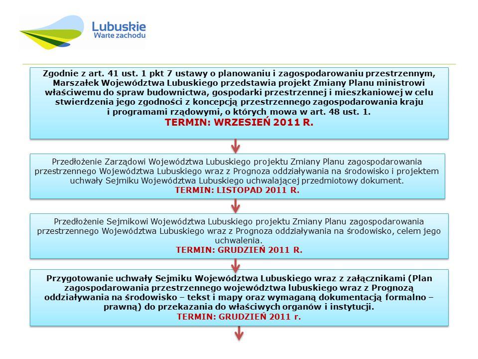 Zgodnie z art. 41 ust. 1 pkt 7 ustawy o planowaniu i zagospodarowaniu przestrzennym, Marszałek Województwa Lubuskiego przedstawia projekt Zmiany Planu