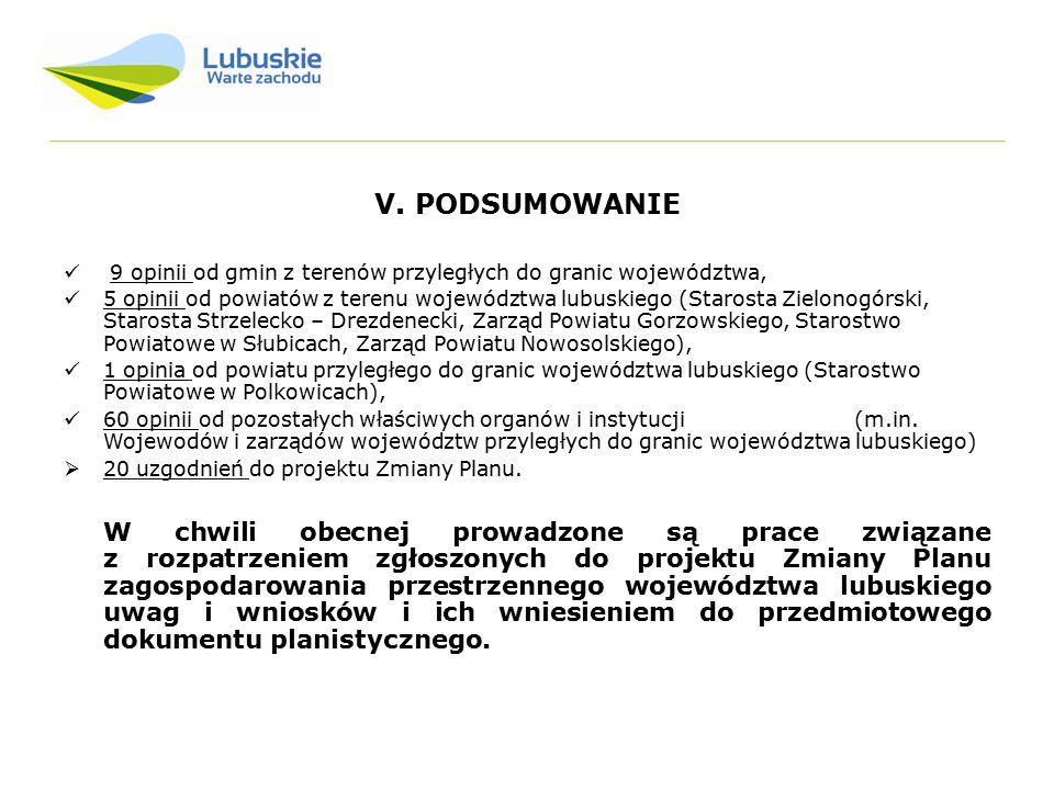 V. PODSUMOWANIE 9 opinii od gmin z terenów przyległych do granic województwa, 5 opinii od powiatów z terenu województwa lubuskiego (Starosta Zielonogó