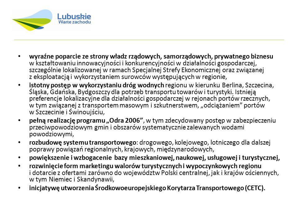 Układ przestrzenny Struktura przestrzenna województwa lubuskiego opiera się na dwóch podstawowych osiach: antropogenicznych - oś Wschód - Zachód: II Paneuropejski Korytarz Transportowy i III Paneuropejski Korytarz Transportowy oraz oś północ – południe: dwubiegunowe powiązanie ośrodków krajowych – Gorzów Wlkp.