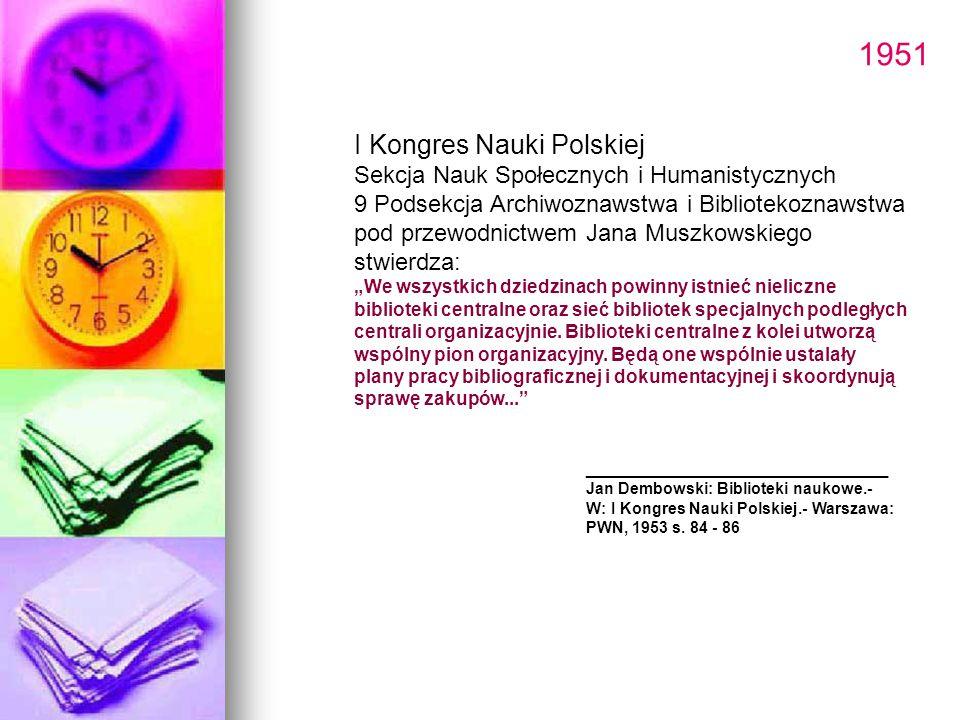1951 I Kongres Nauki Polskiej Sekcja Nauk Społecznych i Humanistycznych 9 Podsekcja Archiwoznawstwa i Bibliotekoznawstwa pod przewodnictwem Jana Muszk