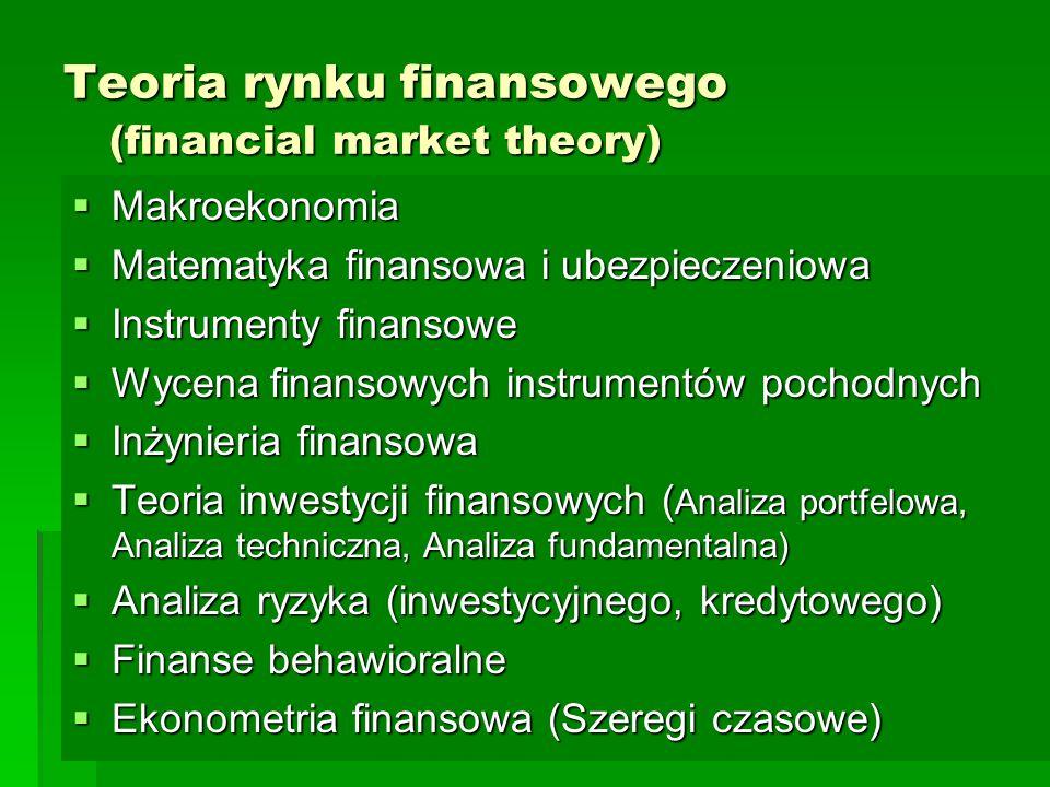 Teoria rynku finansowego (financial market theory)  Makroekonomia  Matematyka finansowa i ubezpieczeniowa  Instrumenty finansowe  Wycena finansowych instrumentów pochodnych  Inżynieria finansowa  Teoria inwestycji finansowych ( Analiza portfelowa, Analiza techniczna, Analiza fundamentalna)  Analiza ryzyka (inwestycyjnego, kredytowego)  Finanse behawioralne  Ekonometria finansowa (Szeregi czasowe)