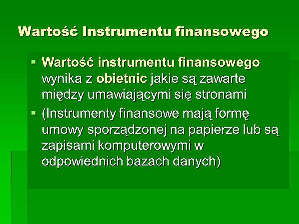 Wartość Instrumentu finansowego  Wartość instrumentu finansowego wynika z obietnic jakie są zawarte między umawiającymi się stronami  (Instrumenty f
