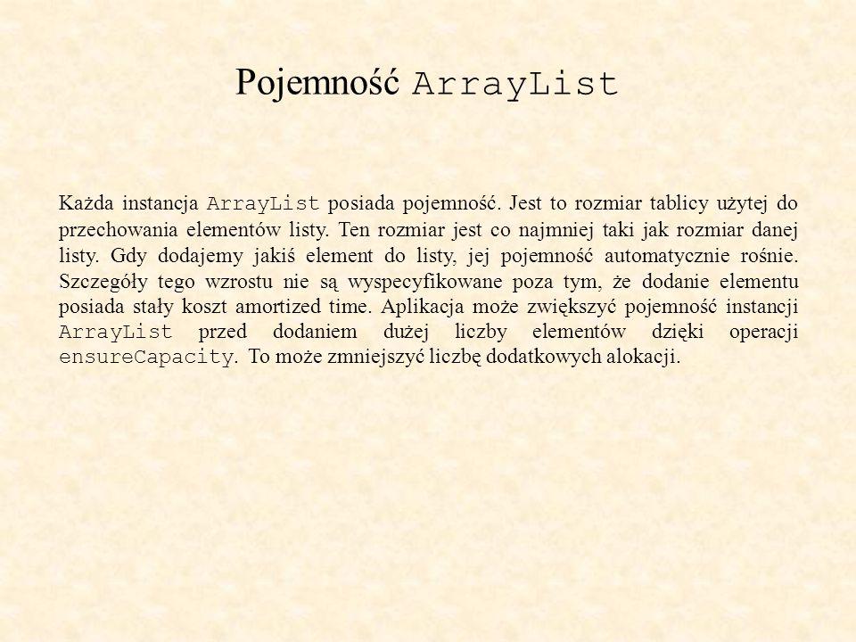 Pojemność ArrayList Każda instancja ArrayList posiada pojemność.