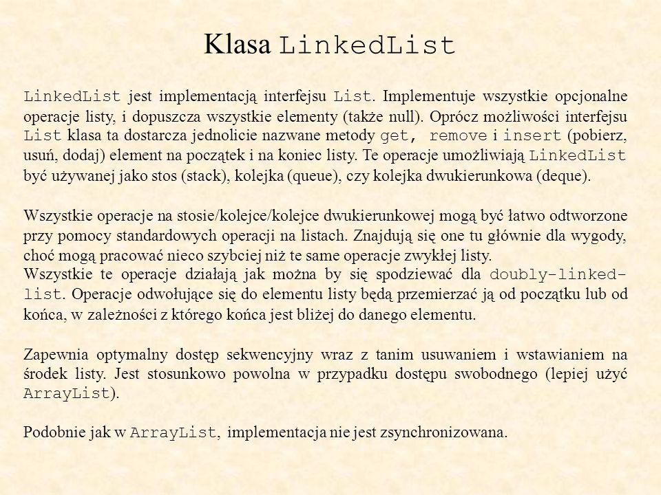 Klasa LinkedList LinkedList jest implementacją interfejsu List.