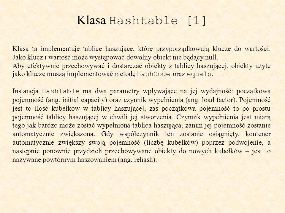Klasa Hashtable [1] Klasa ta implementuje tablice haszujące, które przyporządkowują klucze do wartości.