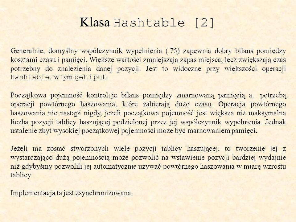 Klasa Hashtable [2] Generalnie, domyślny współczynnik wypełnienia (.75) zapewnia dobry bilans pomiędzy kosztami czasu i pamięci.
