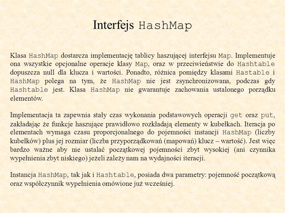 Interfejs HashMap Klasa HashMap dostarcza implementację tablicy haszującej interfejsu Map.