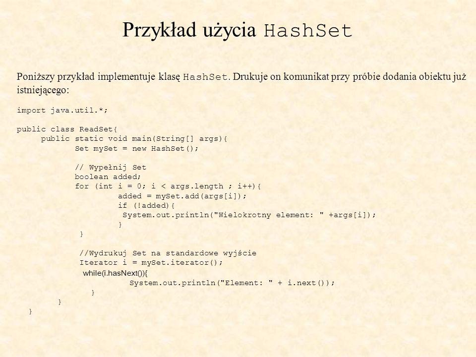 Przykład użycia HashSet Poniższy przykład implementuje klasę HashSet.