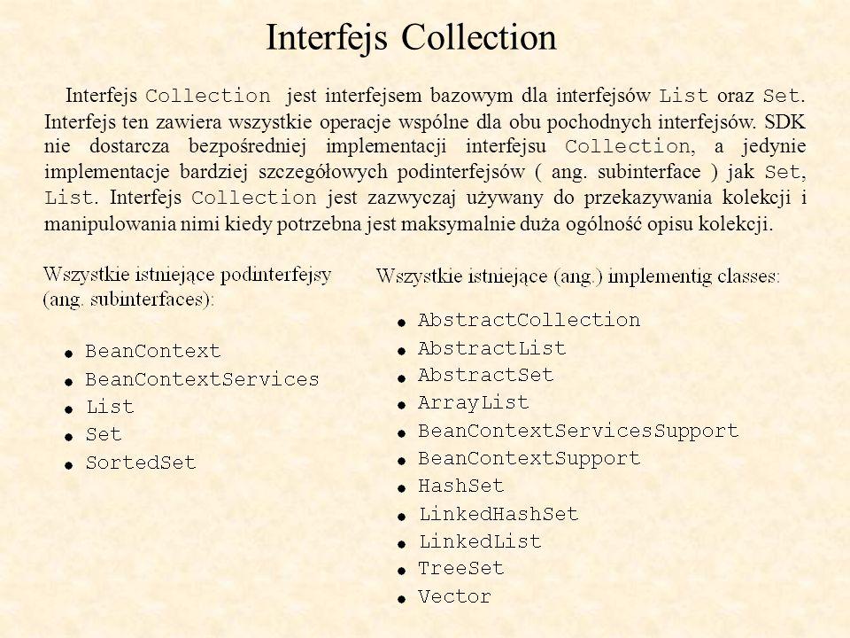 Interfejs Collection Interfejs Collection jest interfejsem bazowym dla interfejsów List oraz Set.