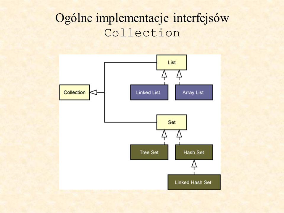"""Konstruktory kolekcji Wszystkie implementacje klas Collection ogólnego użytku (które zazwyczaj implementują Collection pośrednio poprzez któryś z jej podinterfejsów) powinny dostarczać dwóch """"standardowych konstruktorów: W rezultacie ten drugi konstruktor pozwala użytkownikowi na kopiowanie każdej kolekcji produkując kolekcję typu pożądanej implementacji."""