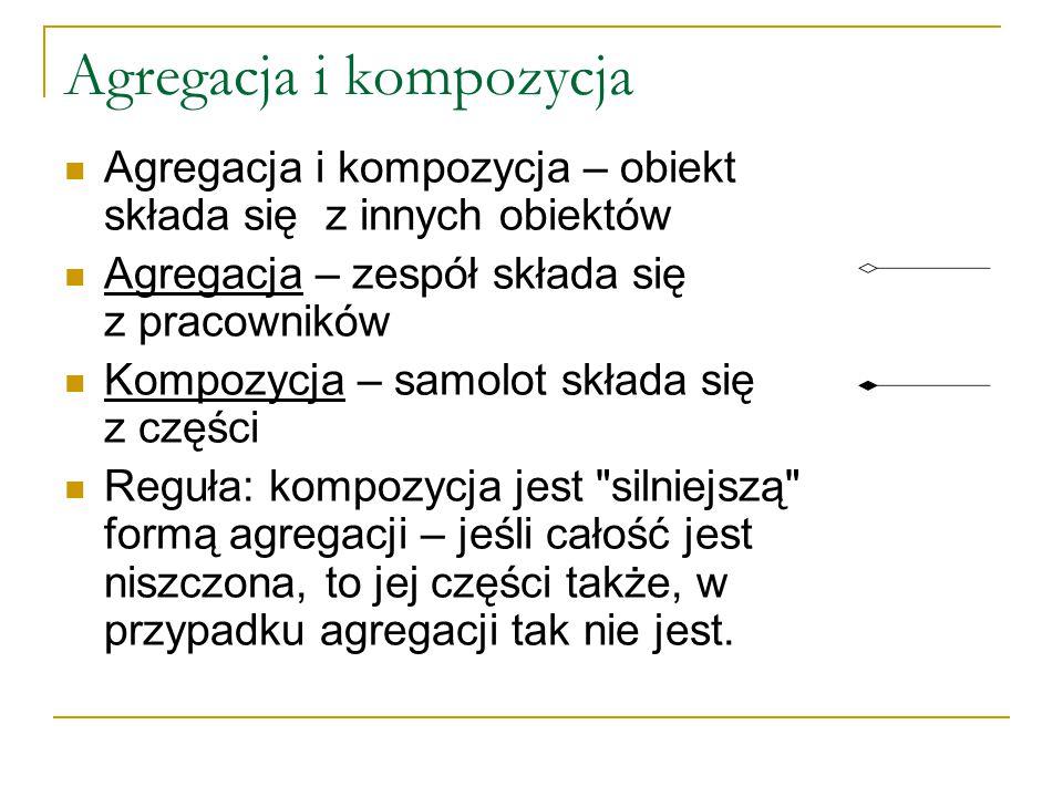 Agregacja i kompozycja Agregacja i kompozycja – obiekt składa się z innych obiektów Agregacja – zespół składa się z pracowników Kompozycja – samolot składa się z części Reguła: kompozycja jest silniejszą formą agregacji – jeśli całość jest niszczona, to jej części także, w przypadku agregacji tak nie jest.