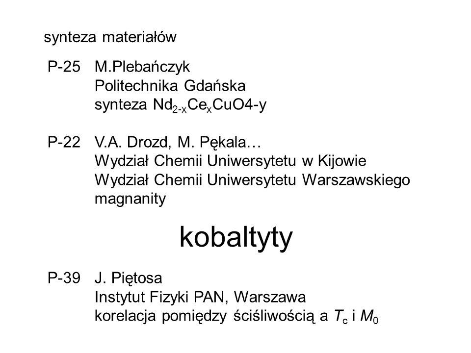 synteza materiałów P-25 M.Plebańczyk Politechnika Gdańska synteza Nd 2-x Ce x CuO4-y P-22 V.A.