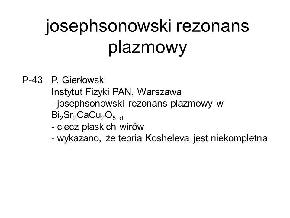 inne… P-09 Andrzej Zaleski INTBiS, Wrocław moment magnetyczny bikryształów bizmutu z granicą wysokokątową - zaobserwowanie dwóch warstw nadprzewodzących na granicy wysokokątowej P-30 Ryszard Zalecki AGH, Kraków pomiar prądów krytycznych w grubych warstwach Tl-1223
