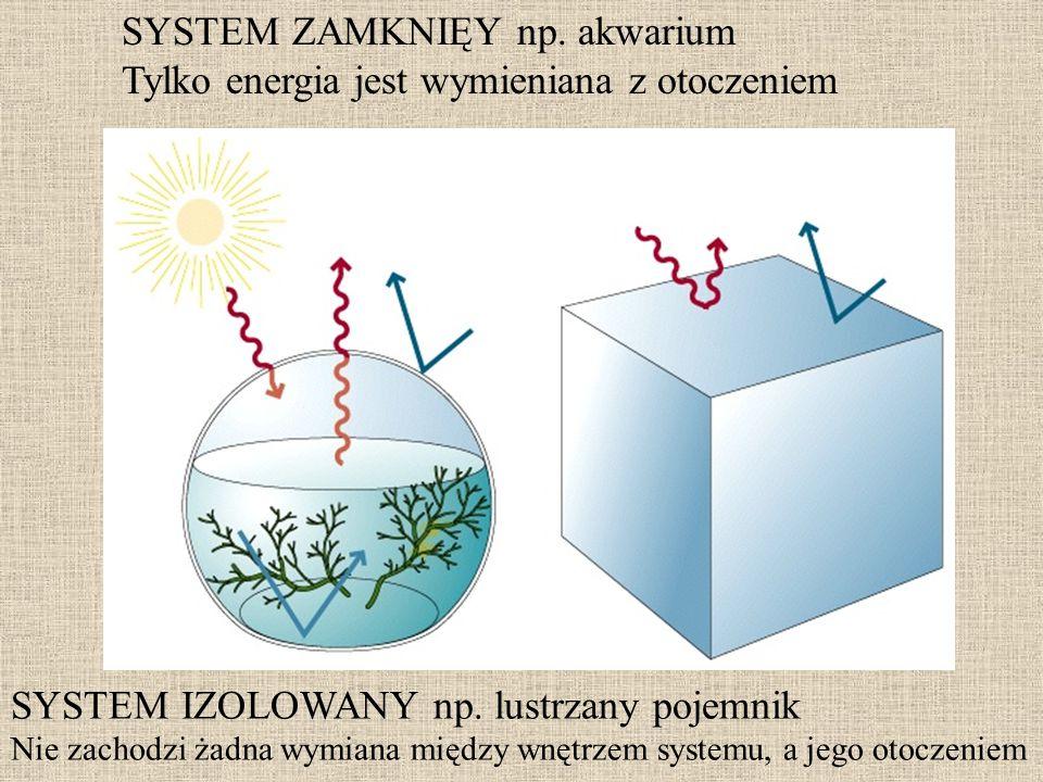 SYSTEM ZAMKNIĘY np. akwarium Tylko energia jest wymieniana z otoczeniem SYSTEM IZOLOWANY np. lustrzany pojemnik Nie zachodzi żadna wymiana między wnęt
