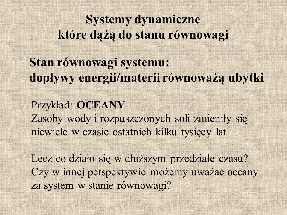 Systemy dynamiczne które dążą do stanu równowagi Stan równowagi systemu: dopływy energii/materii równoważą ubytki Przykład: OCEANY Zasoby wody i rozpu
