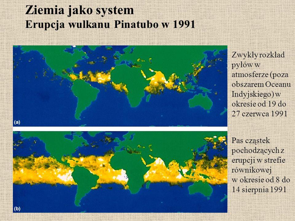Ziemia jako system Erupcja wulkanu Pinatubo w 1991 Zwykły rozkład pyłów w atmosferze (poza obszarem Oceanu Indyjskiego) w okresie od 19 do 27 czerwca