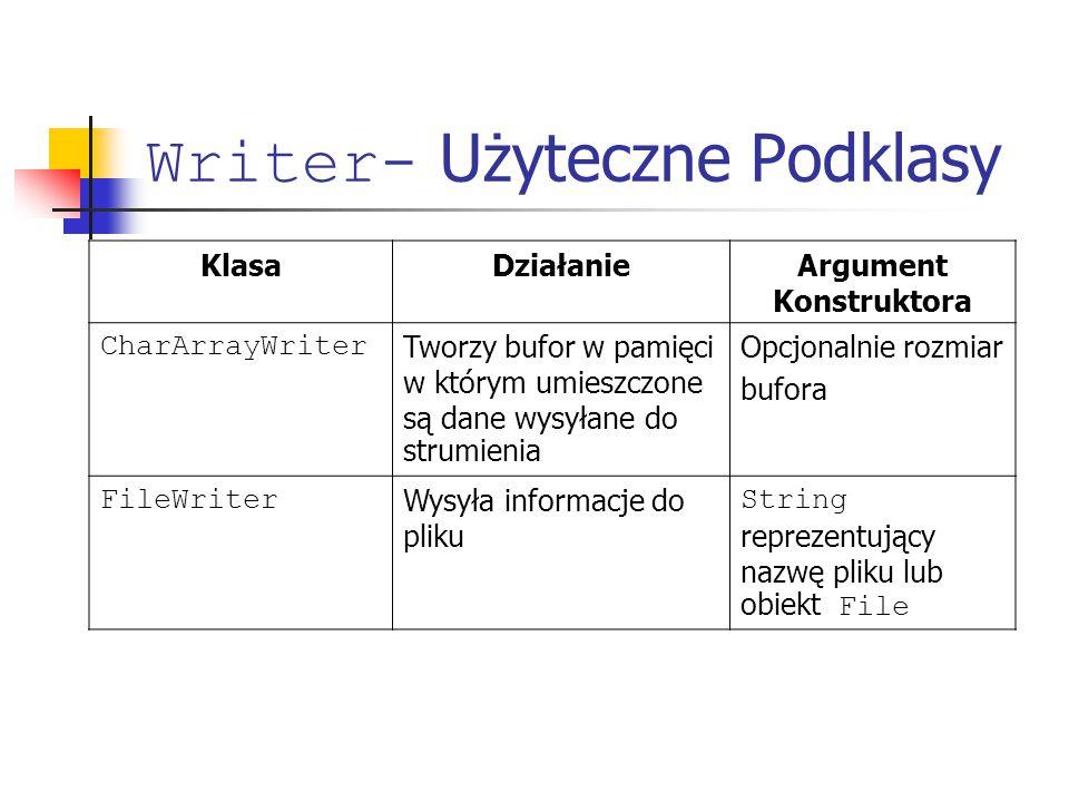 Writer- Użyteczne Podklasy KlasaDziałanieArgument Konstruktora CharArrayWriter Tworzy bufor w pamięci w którym umieszczone są dane wysyłane do strumienia Opcjonalnie rozmiar bufora FileWriter Wysyła informacje do pliku String reprezentujący nazwę pliku lub obiekt File