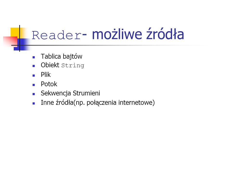 Reader - możliwe źródła Tablica bajtów Obiekt String Plik Potok Sekwencja Strumieni Inne źródła(np.