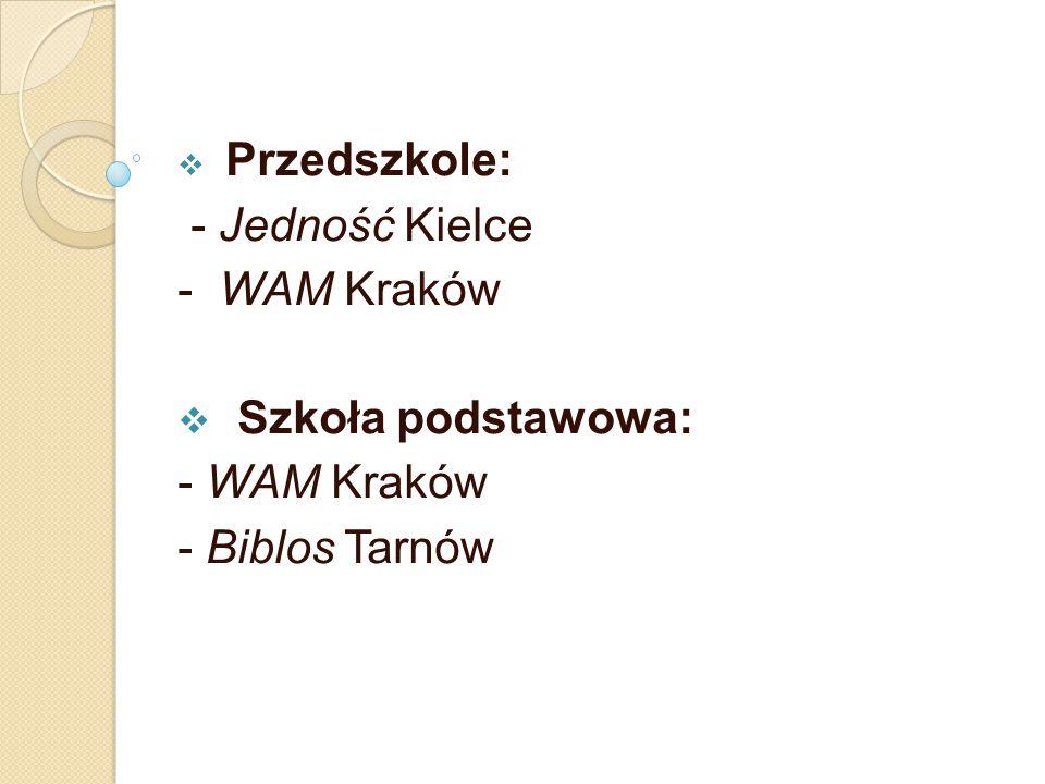  Przedszkole: - Jedność Kielce - WAM Kraków  Szkoła podstawowa: - WAM Kraków - Biblos Tarnów