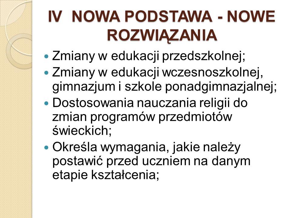 IV NOWA PODSTAWA - NOWE ROZWIĄZANIA Zmiany w edukacji przedszkolnej; Zmiany w edukacji wczesnoszkolnej, gimnazjum i szkole ponadgimnazjalnej; Dostosow