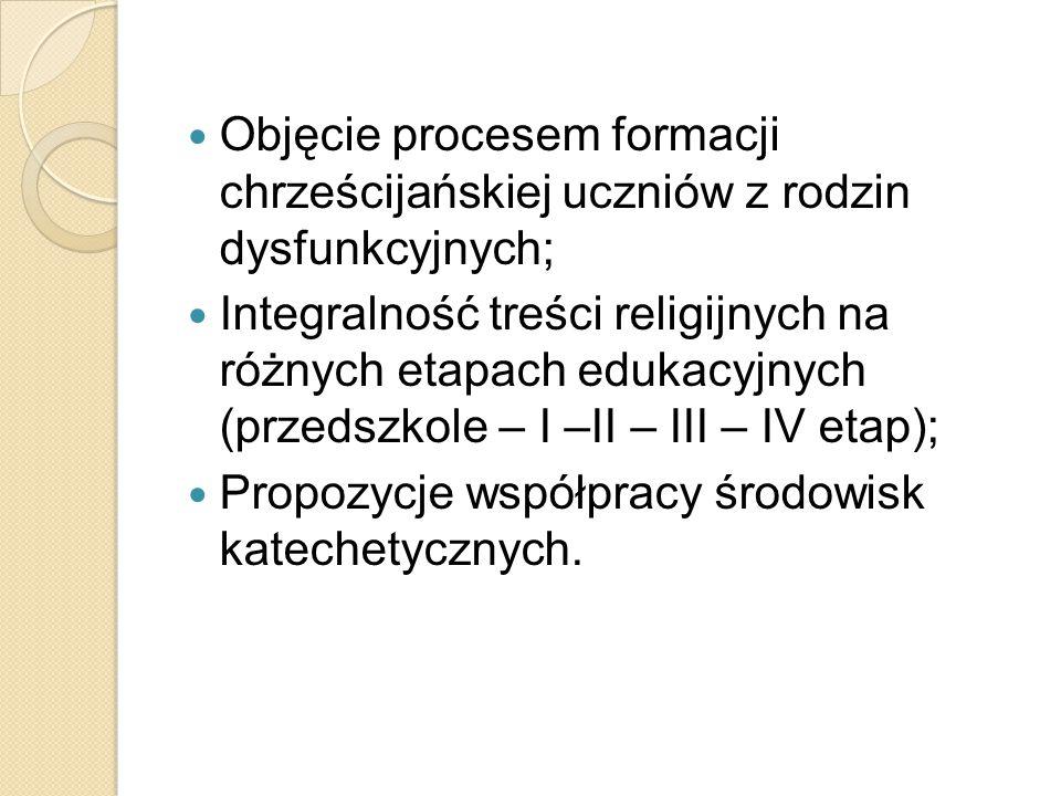 Objęcie procesem formacji chrześcijańskiej uczniów z rodzin dysfunkcyjnych; Integralność treści religijnych na różnych etapach edukacyjnych (przedszko