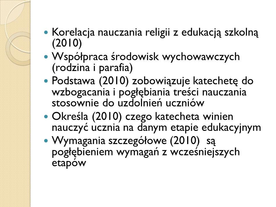 Korelacja nauczania religii z edukacją szkolną (2010) Współpraca środowisk wychowawczych (rodzina i parafia) Podstawa (2010) zobowiązuje katechetę do