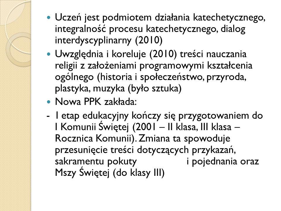 Uczeń jest podmiotem działania katechetycznego, integralność procesu katechetycznego, dialog interdyscyplinarny (2010) Uwzględnia i koreluje (2010) tr