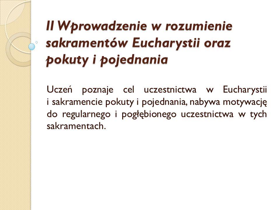 II Wprowadzenie w rozumienie sakramentów Eucharystii oraz pokuty i pojednania Uczeń poznaje cel uczestnictwa w Eucharystii i sakramencie pokuty i poje