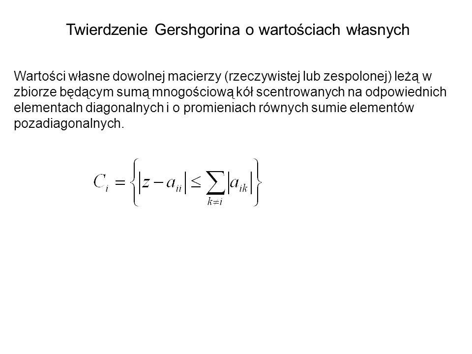 Twierdzenie Gershgorina o wartościach własnych Wartości własne dowolnej macierzy (rzeczywistej lub zespolonej) leżą w zbiorze będącym sumą mnogościową