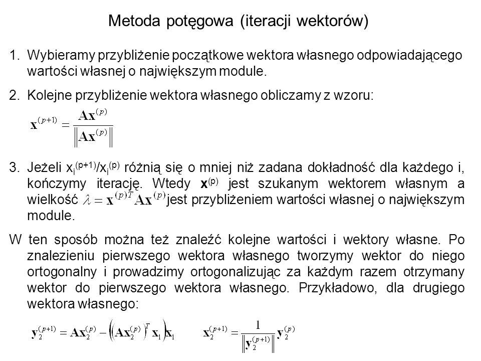 Dowód zbieżności metody iteracji potęgowej dla największej co do modułu wartości własnej Wektor x (0) można zapisać jako kombinację liniową wektorów własnych: Ponieważ x (p) otrzymuje się z x (0) przez p-krotne lewostronne mnożenie przez A oraz Av i = v i mamy: Jeżeli  jest wartością własną największą co do modułu to mamy: