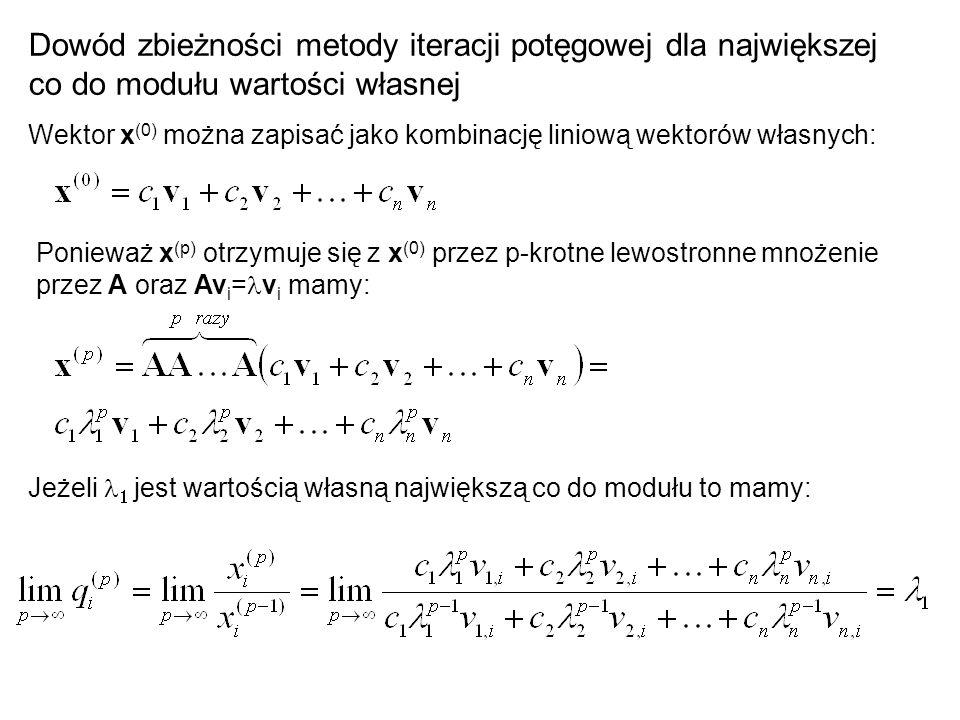Dowód zbieżności metody iteracji potęgowej dla największej co do modułu wartości własnej Wektor x (0) można zapisać jako kombinację liniową wektorów w