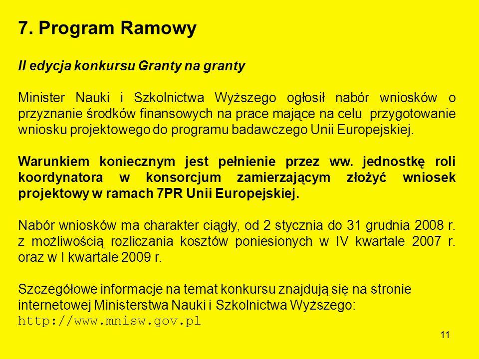11 II edycja konkursu Granty na granty Minister Nauki i Szkolnictwa Wyższego ogłosił nabór wniosków o przyznanie środków finansowych na prace mające na celu przygotowanie wniosku projektowego do programu badawczego Unii Europejskiej.