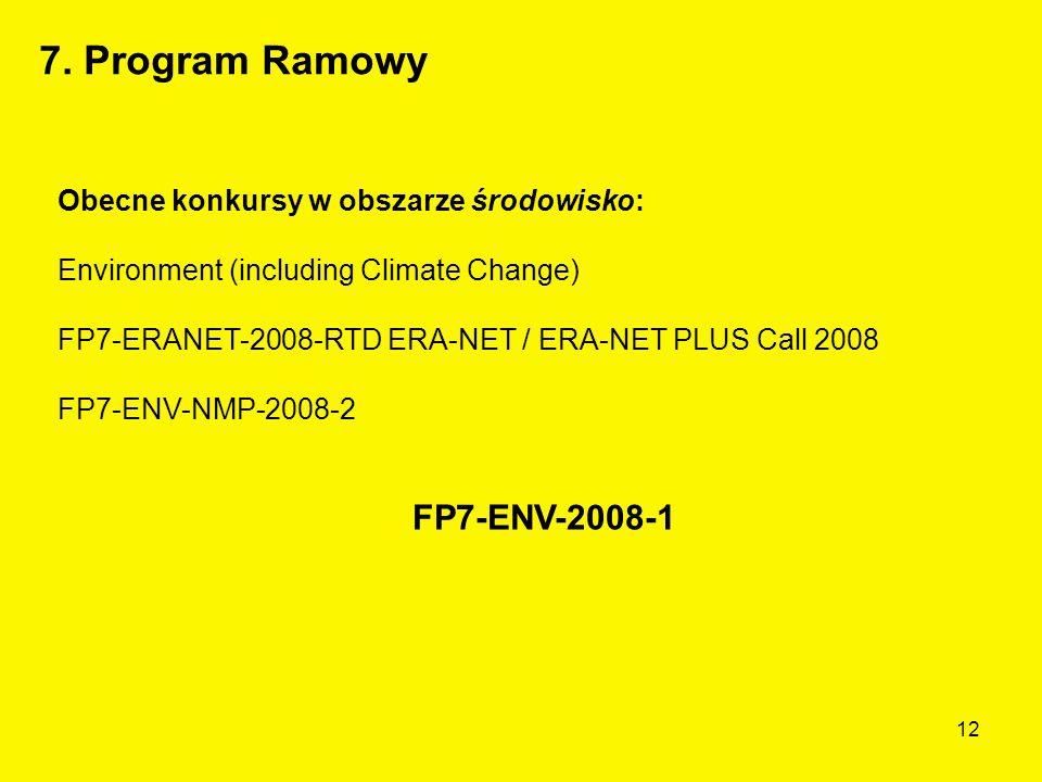 12 Obecne konkursy w obszarze środowisko: Environment (including Climate Change) FP7-ERANET-2008-RTD ERA-NET / ERA-NET PLUS Call 2008 FP7-ENV-NMP-2008-2 FP7-ENV-2008-1 7.