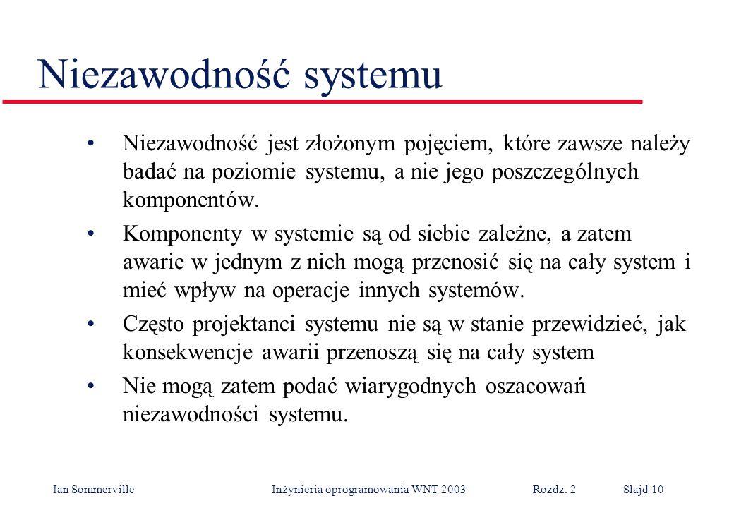 Ian Sommerville Inżynieria oprogramowania WNT 2003 Rozdz. 2Slajd 10 Niezawodność jest złożonym pojęciem, które zawsze należy badać na poziomie systemu