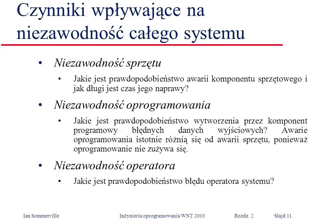 Ian Sommerville Inżynieria oprogramowania WNT 2003 Rozdz. 2Slajd 11 Niezawodność sprzętu Jakie jest prawdopodobieństwo awarii komponentu sprzętowego i