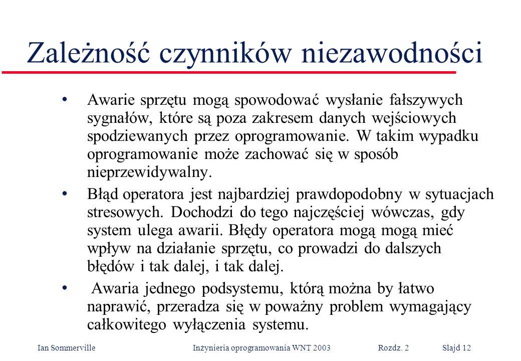 Ian Sommerville Inżynieria oprogramowania WNT 2003 Rozdz. 2Slajd 12 Zależność czynników niezawodności Awarie sprzętu mogą spowodować wysłanie fałszywy