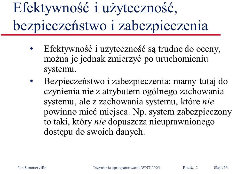 Ian Sommerville Inżynieria oprogramowania WNT 2003 Rozdz. 2Slajd 13 Efektywność i użyteczność, bezpieczeństwo i zabezpieczenia Efektywność i użyteczno