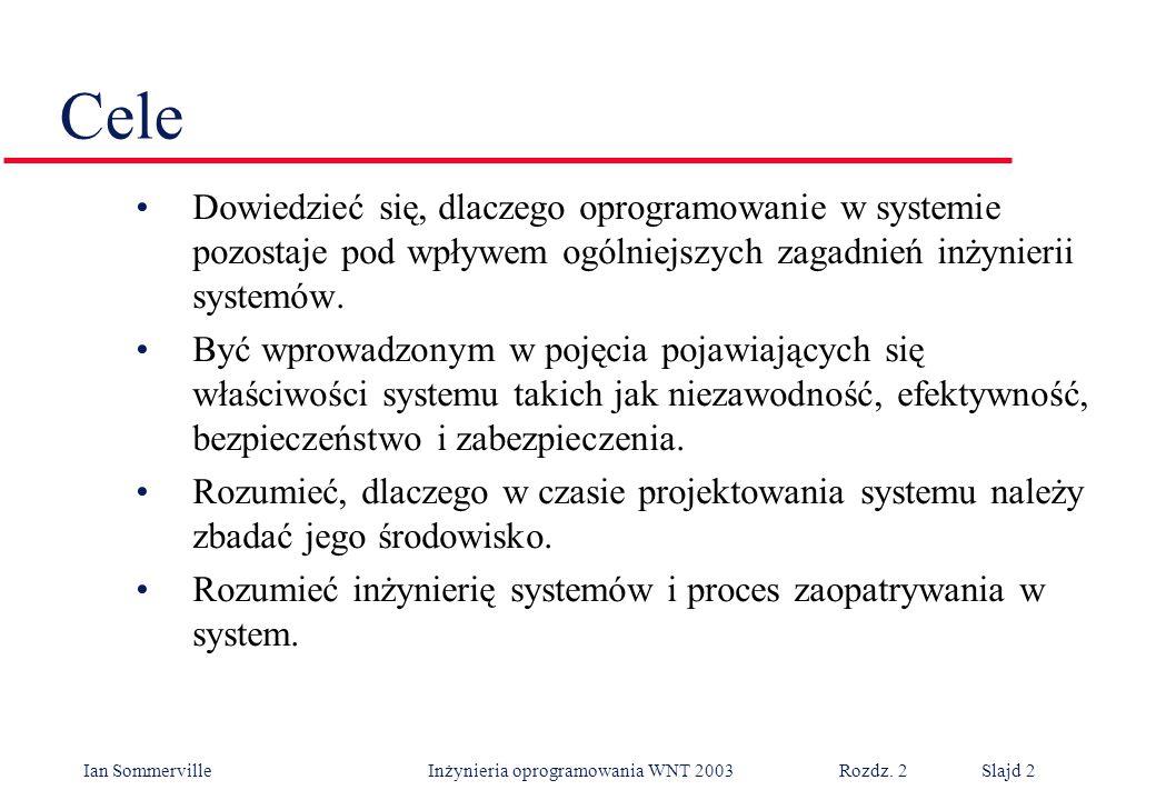 Ian Sommerville Inżynieria oprogramowania WNT 2003 Rozdz. 2Slajd 2 Cele Dowiedzieć się, dlaczego oprogramowanie w systemie pozostaje pod wpływem ogóln