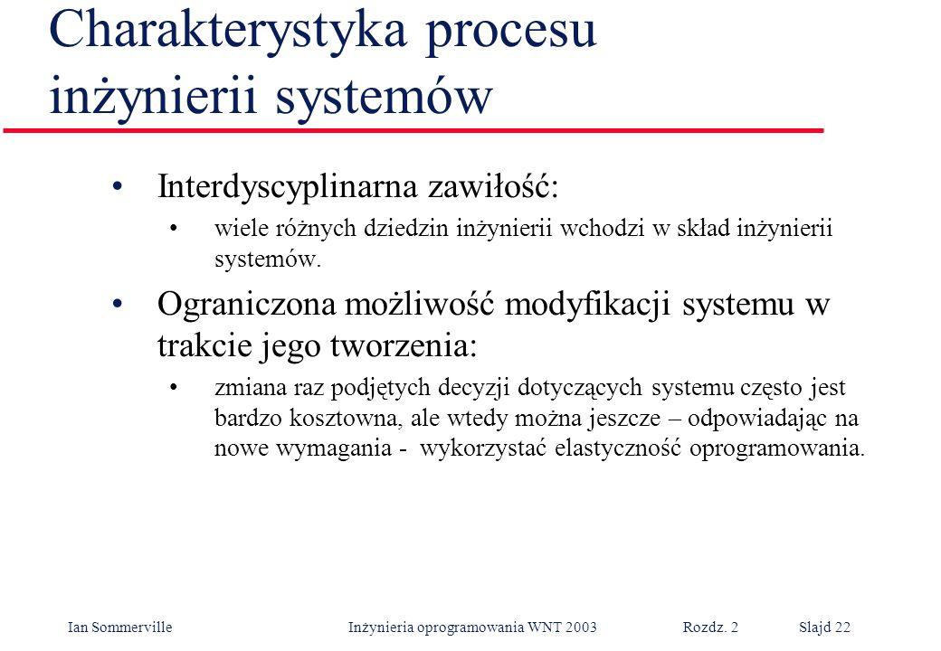 Ian Sommerville Inżynieria oprogramowania WNT 2003 Rozdz. 2Slajd 22 Charakterystyka procesu inżynierii systemów Interdyscyplinarna zawiłość: wiele róż