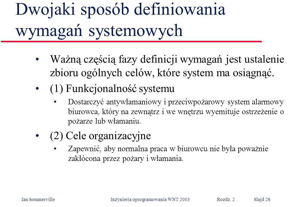Ian Sommerville Inżynieria oprogramowania WNT 2003 Rozdz. 2Slajd 26 Dwojaki sposób definiowania wymagań systemowych Ważną częścią fazy definicji wymag