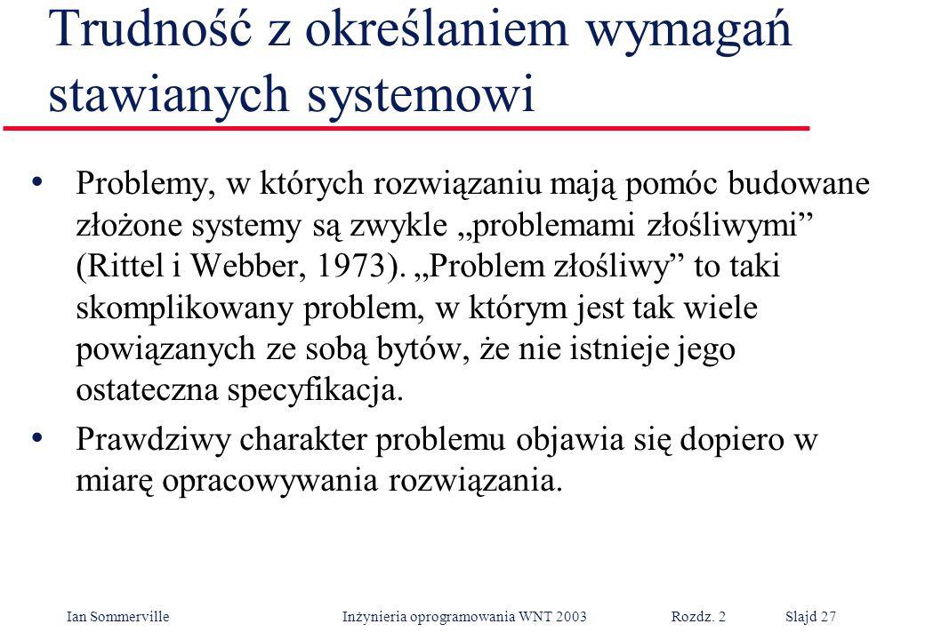 Ian Sommerville Inżynieria oprogramowania WNT 2003 Rozdz. 2Slajd 27 Trudność z określaniem wymagań stawianych systemowi Problemy, w których rozwiązani