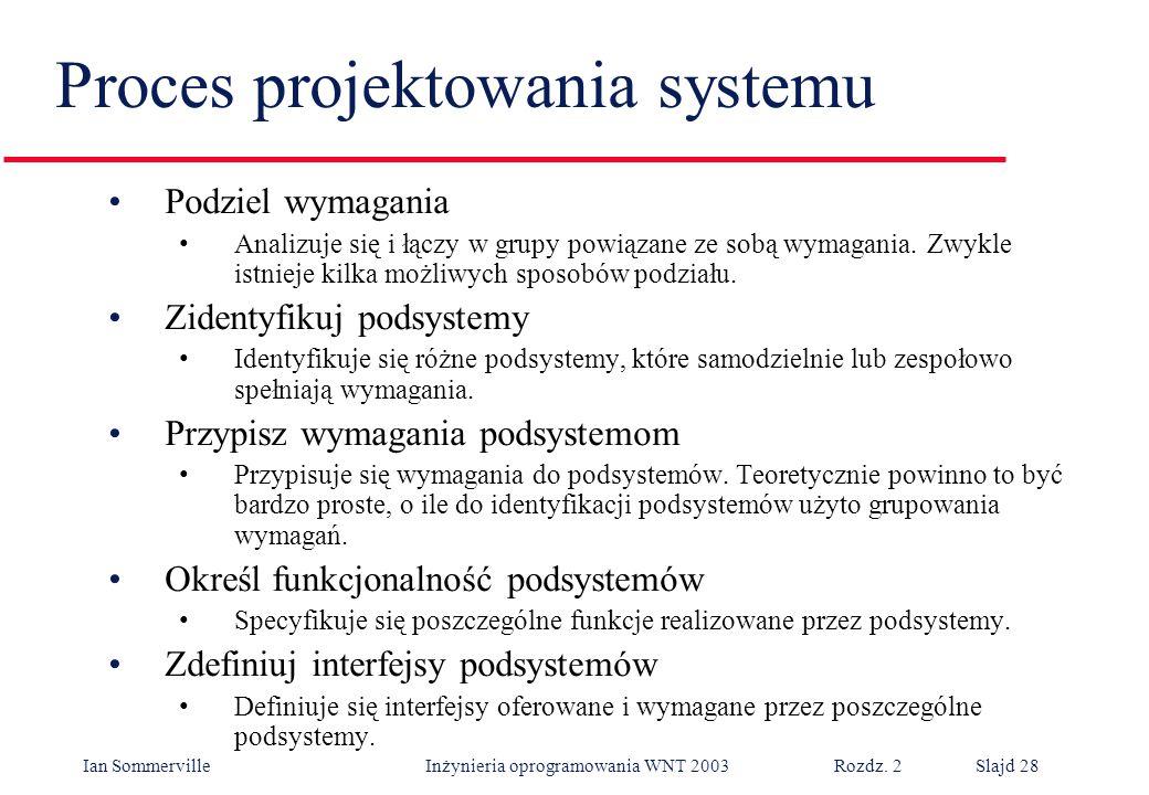Ian Sommerville Inżynieria oprogramowania WNT 2003 Rozdz. 2Slajd 28 Proces projektowania systemu Podziel wymagania Analizuje się i łączy w grupy powią