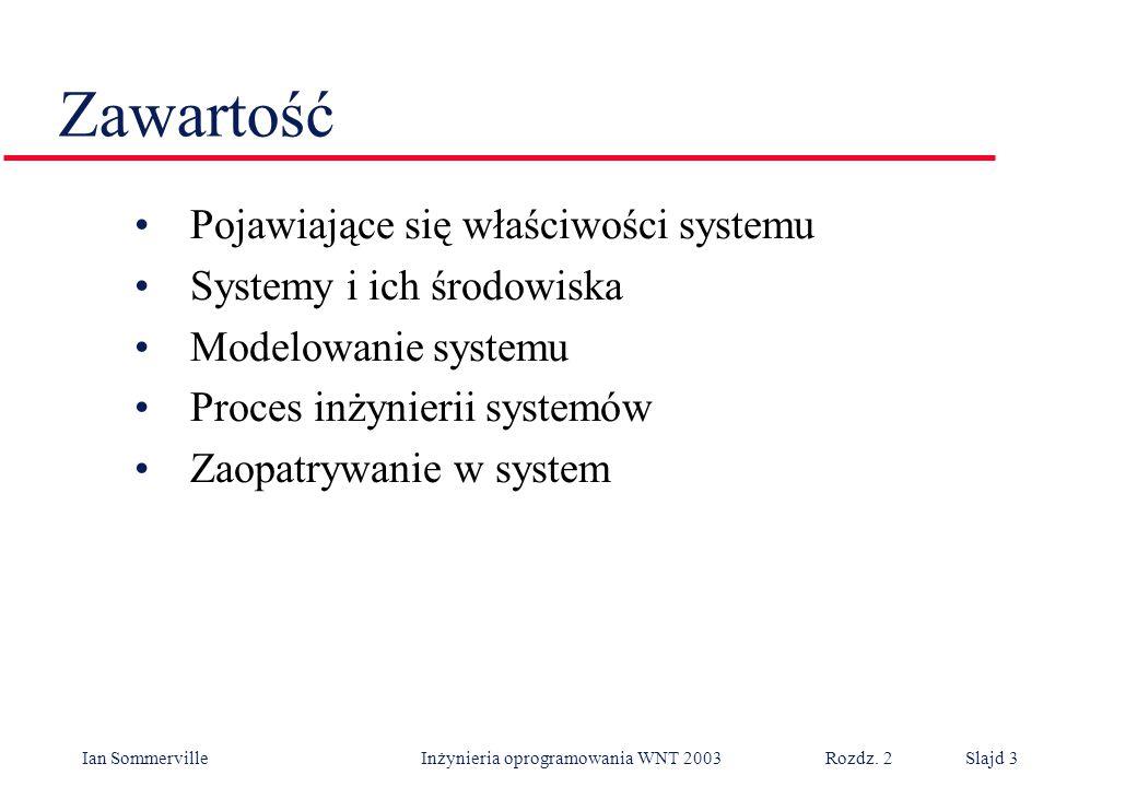 Ian Sommerville Inżynieria oprogramowania WNT 2003 Rozdz. 2Slajd 3 Zawartość Pojawiające się właściwości systemu Systemy i ich środowiska Modelowanie