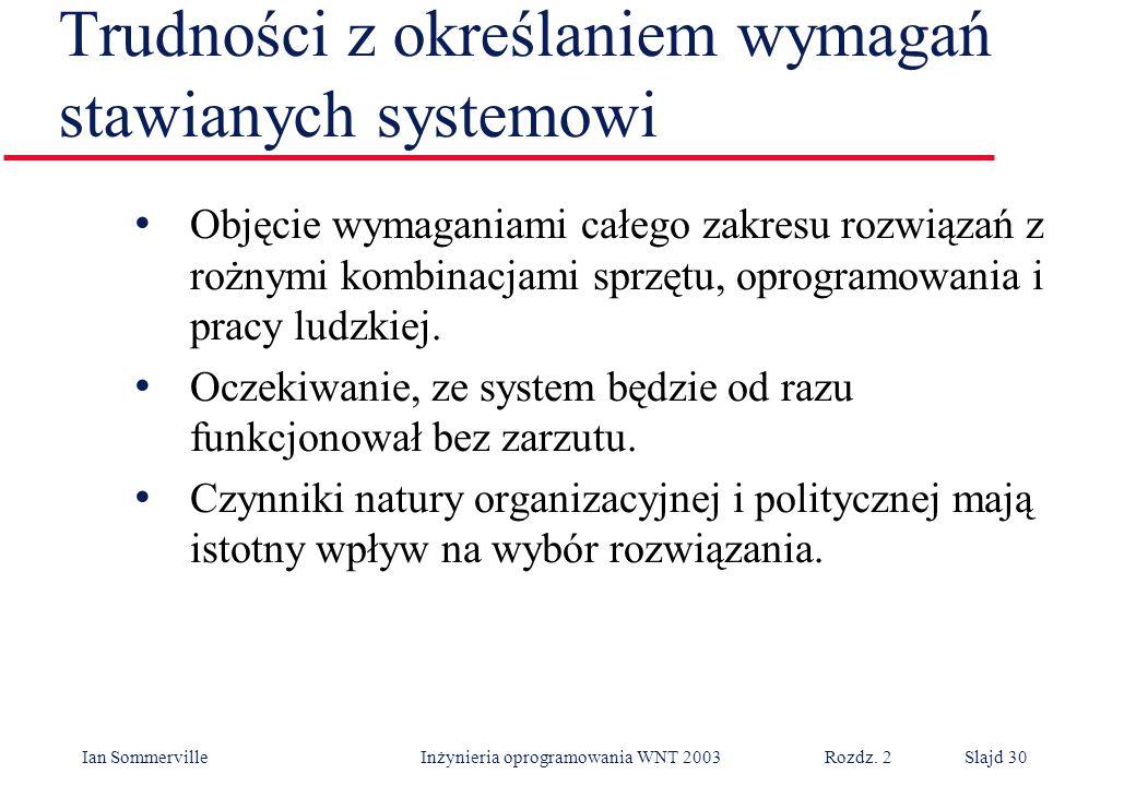 Ian Sommerville Inżynieria oprogramowania WNT 2003 Rozdz. 2Slajd 30 Trudności z określaniem wymagań stawianych systemowi Objęcie wymaganiami całego za