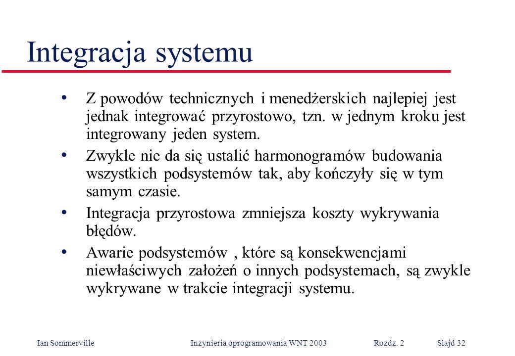 Ian Sommerville Inżynieria oprogramowania WNT 2003 Rozdz. 2Slajd 32 Z powodów technicznych i menedżerskich najlepiej jest jednak integrować przyrostow