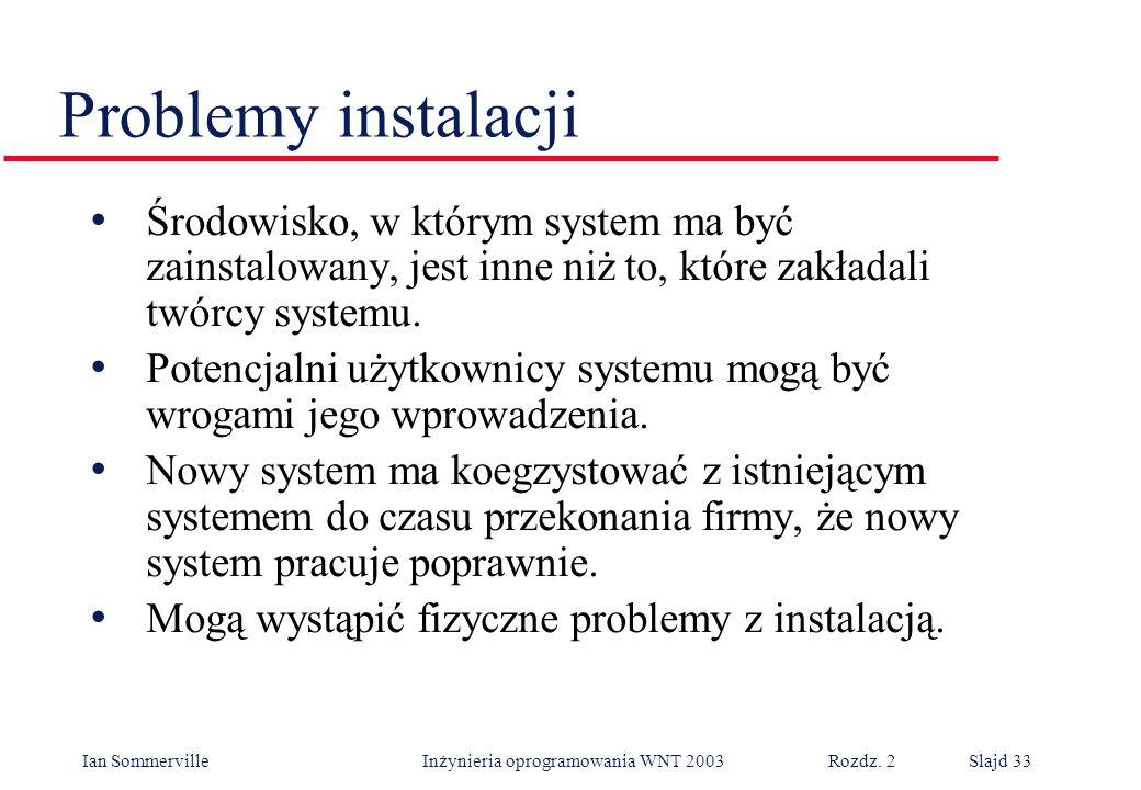 Ian Sommerville Inżynieria oprogramowania WNT 2003 Rozdz. 2Slajd 33 Środowisko, w którym system ma być zainstalowany, jest inne niż to, które zakładal