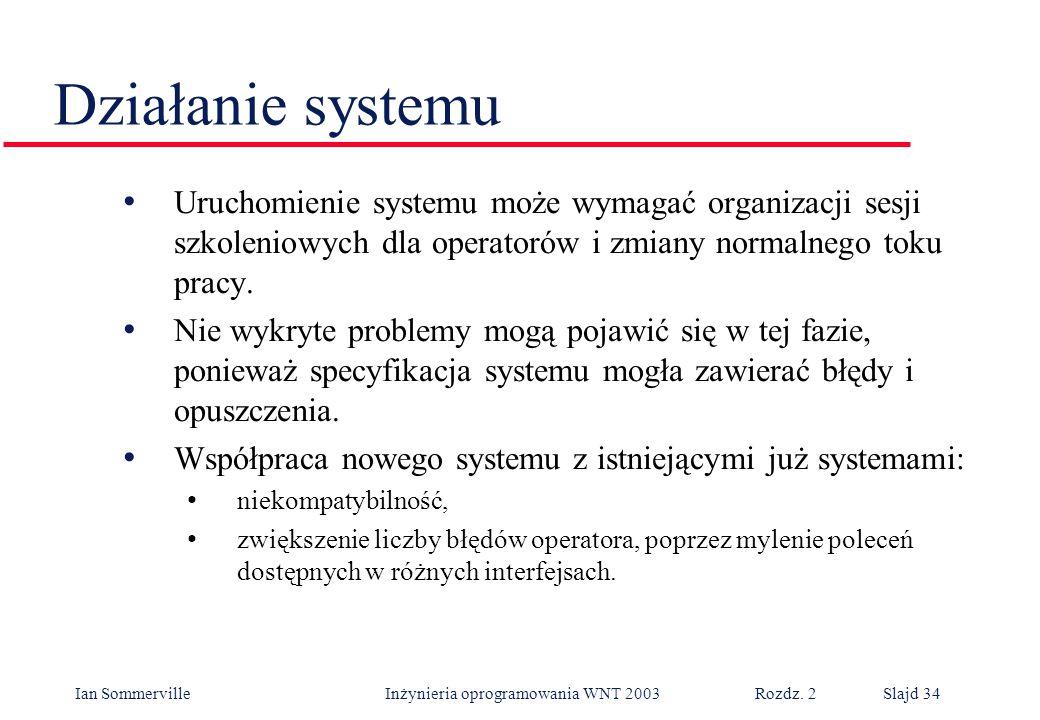 Ian Sommerville Inżynieria oprogramowania WNT 2003 Rozdz. 2Slajd 34 Uruchomienie systemu może wymagać organizacji sesji szkoleniowych dla operatorów i