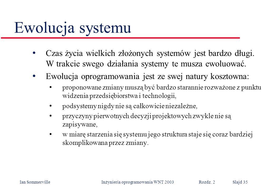 Ian Sommerville Inżynieria oprogramowania WNT 2003 Rozdz. 2Slajd 35 Ewolucja systemu Czas życia wielkich złożonych systemów jest bardzo długi. W trakc