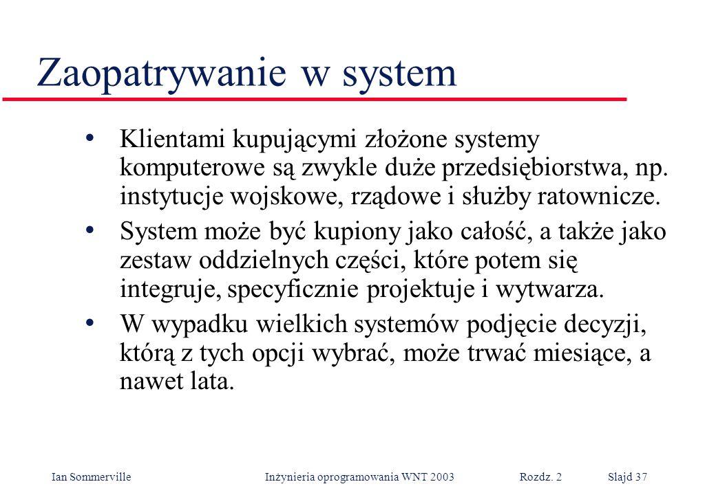 Ian Sommerville Inżynieria oprogramowania WNT 2003 Rozdz. 2Slajd 37 Zaopatrywanie w system Klientami kupującymi złożone systemy komputerowe są zwykle